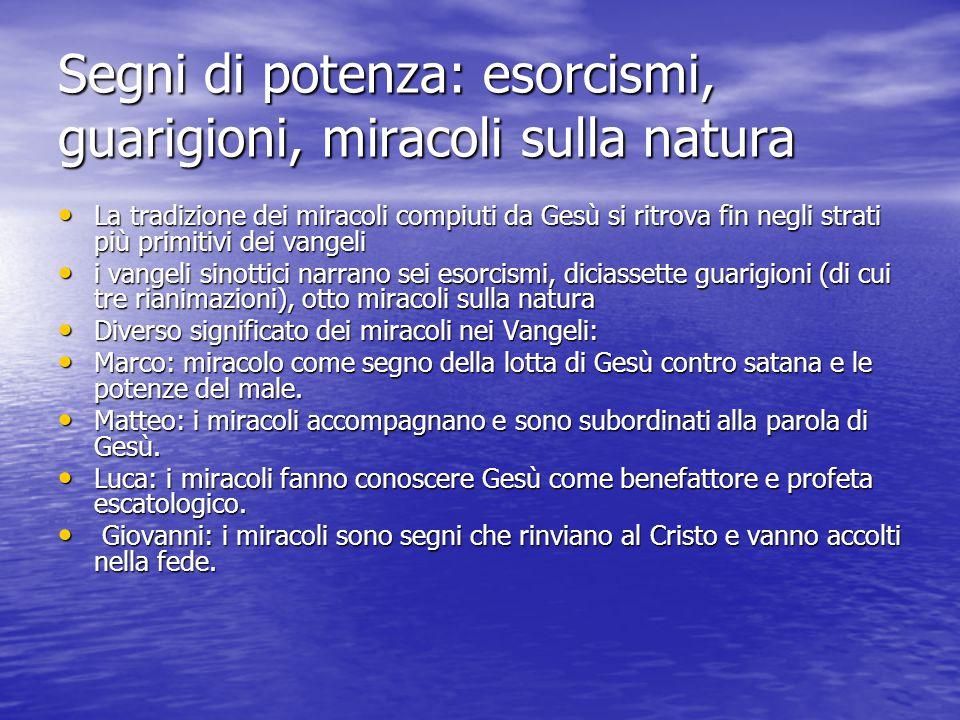 Segni di potenza: esorcismi, guarigioni, miracoli sulla natura