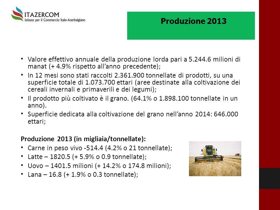 Produzione 2013 Valore effettivo annuale della produzione lorda pari a 5.244.6 milioni di manat (+ 4.9% rispetto all'anno precedente);