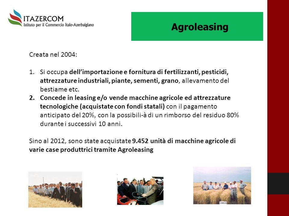Agroleasing Creata nel 2004: