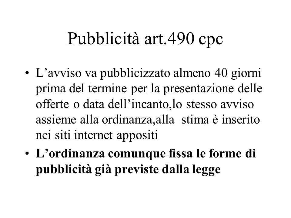 Pubblicità art.490 cpc