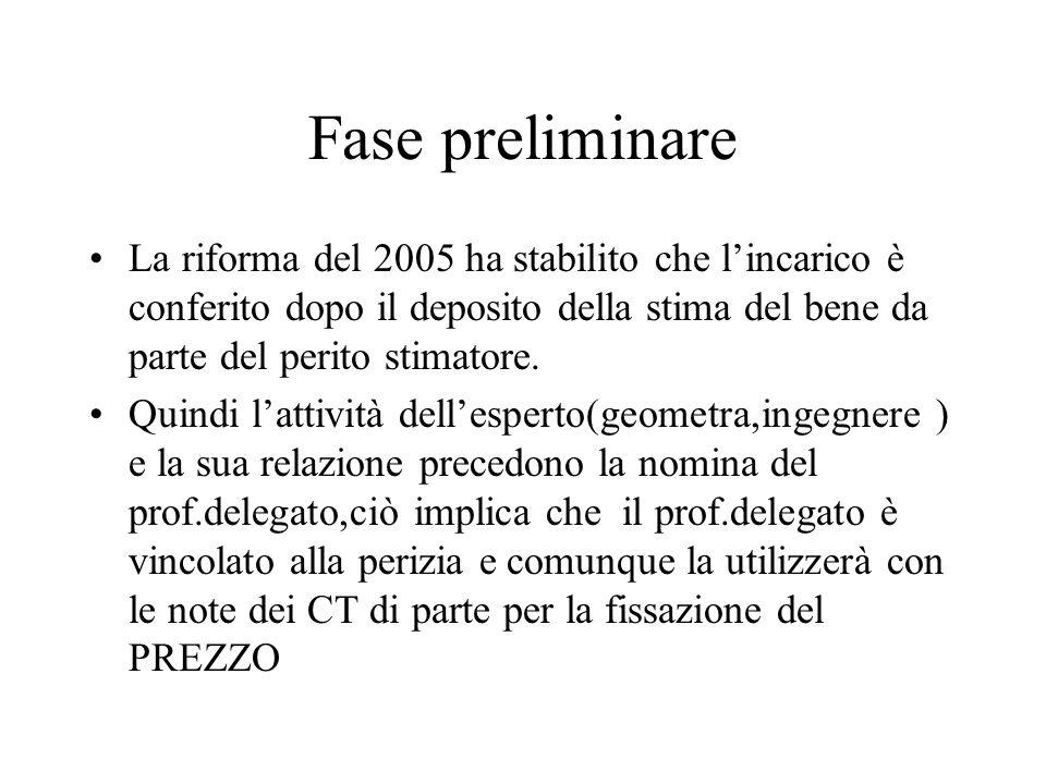 Fase preliminare La riforma del 2005 ha stabilito che l'incarico è conferito dopo il deposito della stima del bene da parte del perito stimatore.