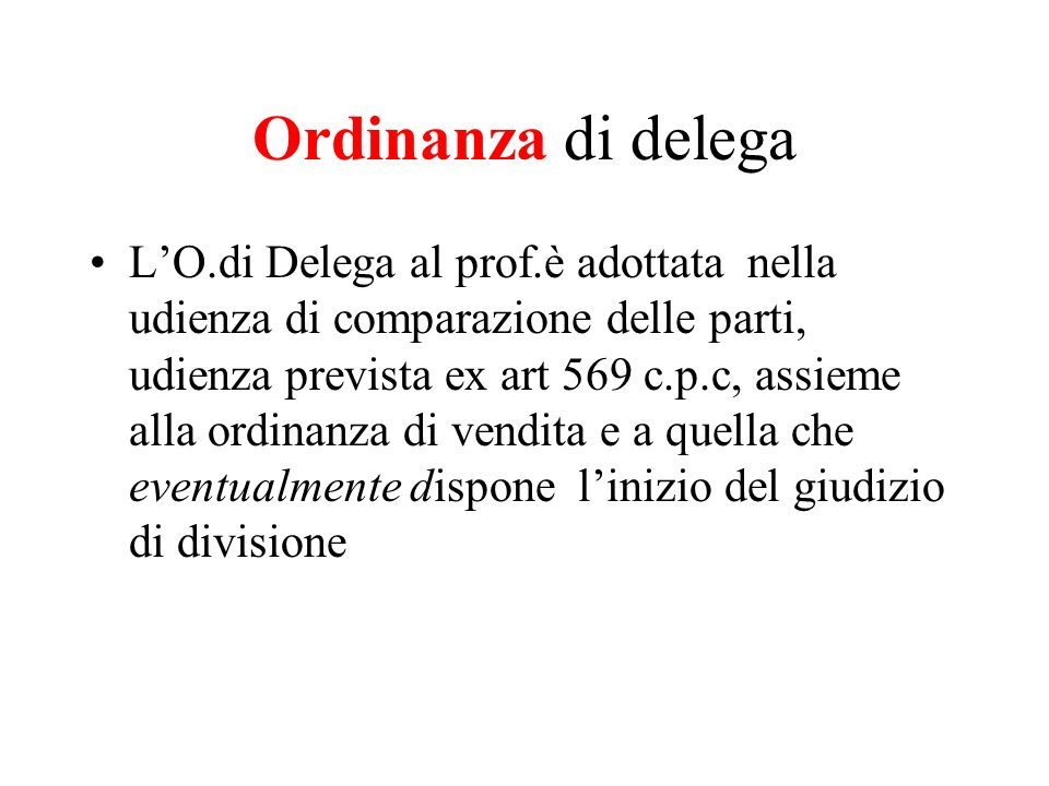 Ordinanza di delega