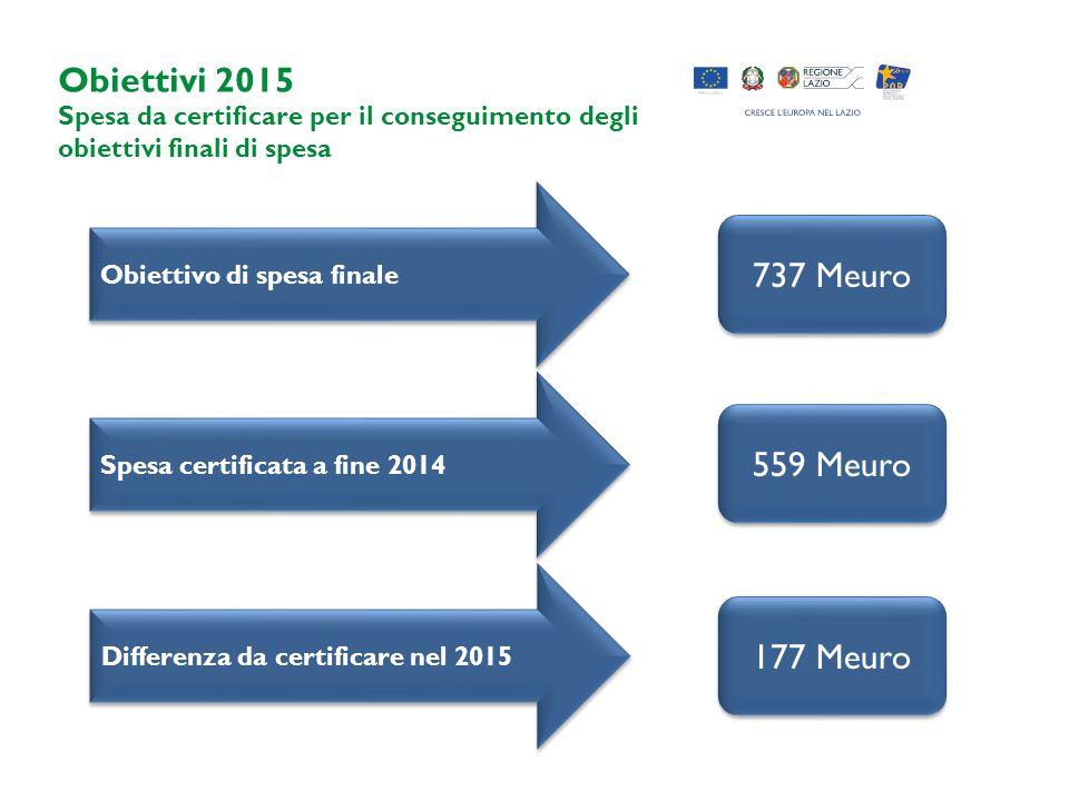 Obiettivi 2015 737 Meuro 559 Meuro 177 Meuro
