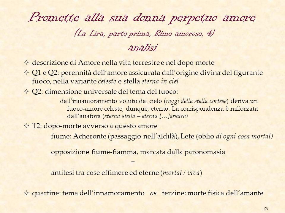 Promette alla sua donna perpetuo amore (La Lira, parte prima, Rime amorose, 4) analisi