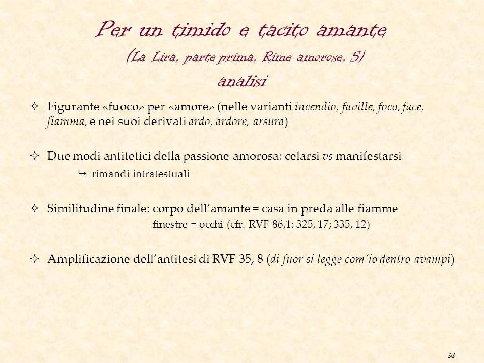 Per un timido e tacito amante (La Lira, parte prima, Rime amorose, 5) analisi