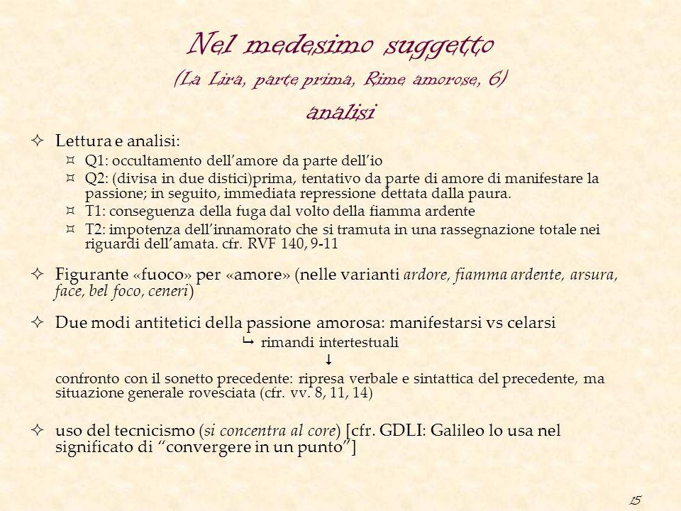 Nel medesimo suggetto (La Lira, parte prima, Rime amorose, 6) analisi