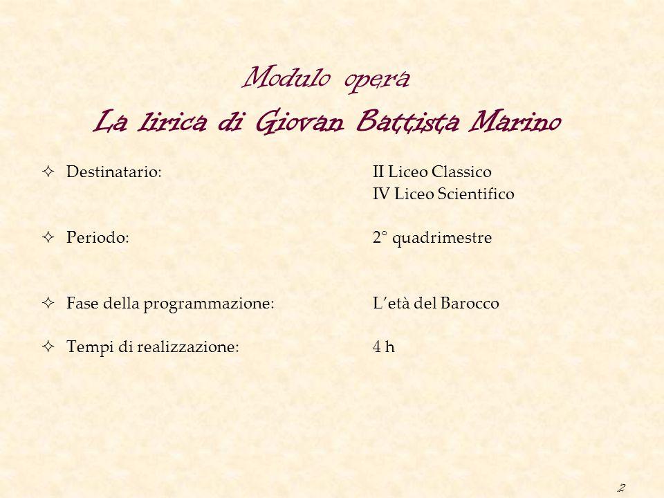 Modulo opera La lirica di Giovan Battista Marino