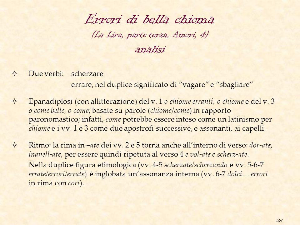 Errori di bella chioma (La Lira, parte terza, Amori, 4) analisi