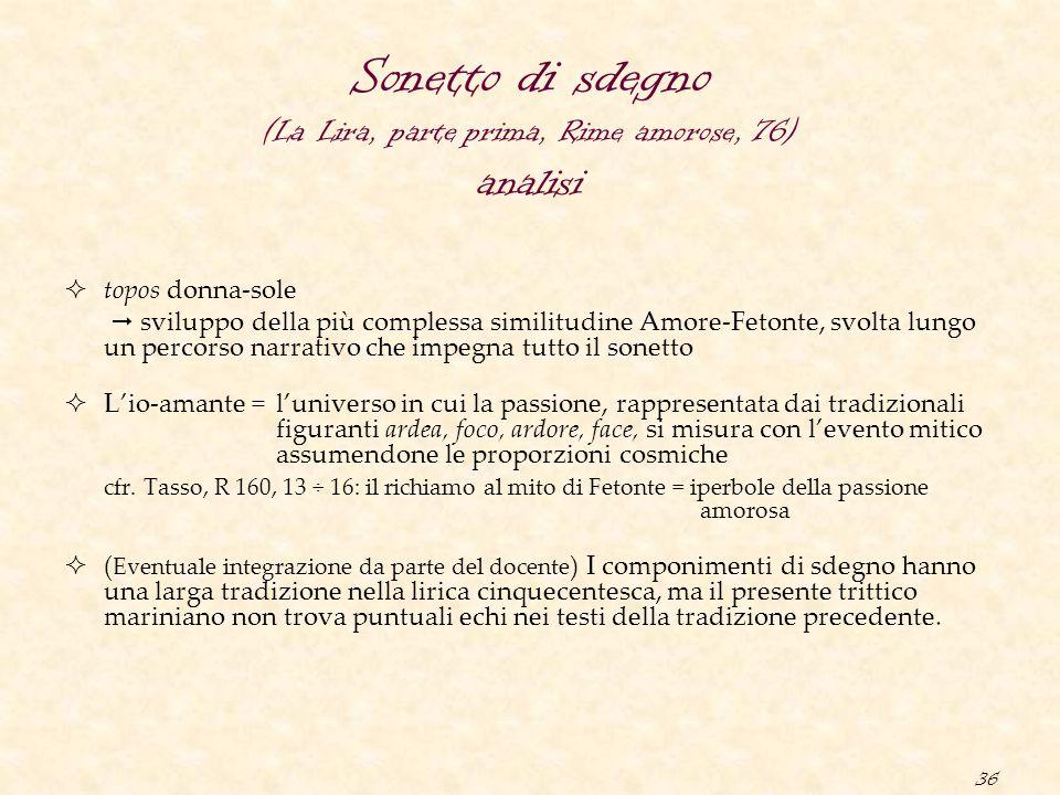 Sonetto di sdegno (La Lira, parte prima, Rime amorose, 76) analisi