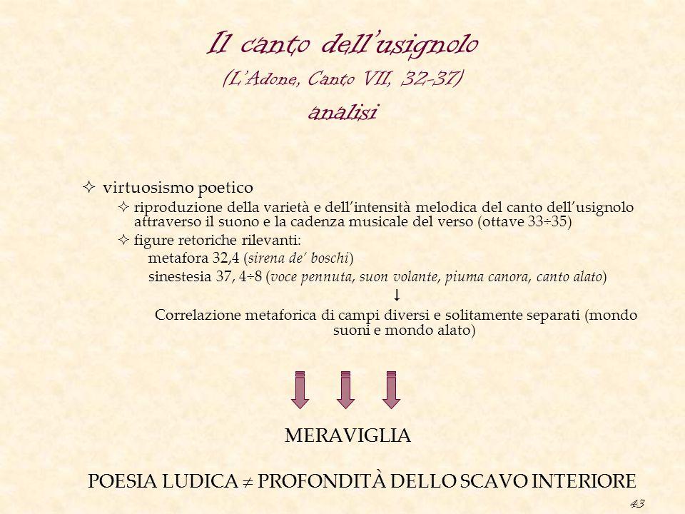 Il canto dell'usignolo (L'Adone, Canto VII, 32-37) analisi