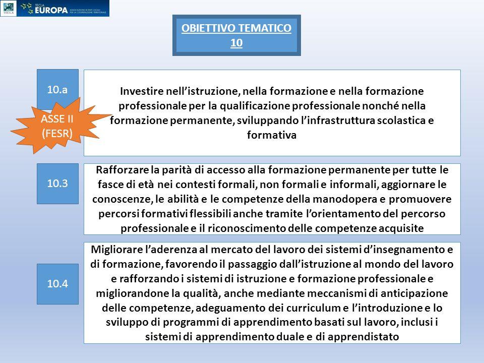 OBIETTIVO TEMATICO 10 10.a.
