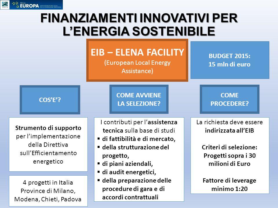 FINANZIAMENTI INNOVATIVI PER L'ENERGIA SOSTENIBILE