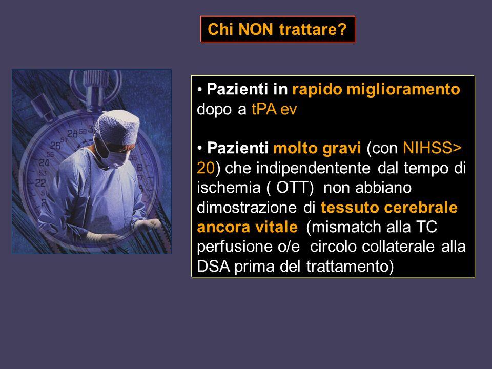 Chi NON trattare Pazienti in rapido miglioramento dopo a tPA ev.