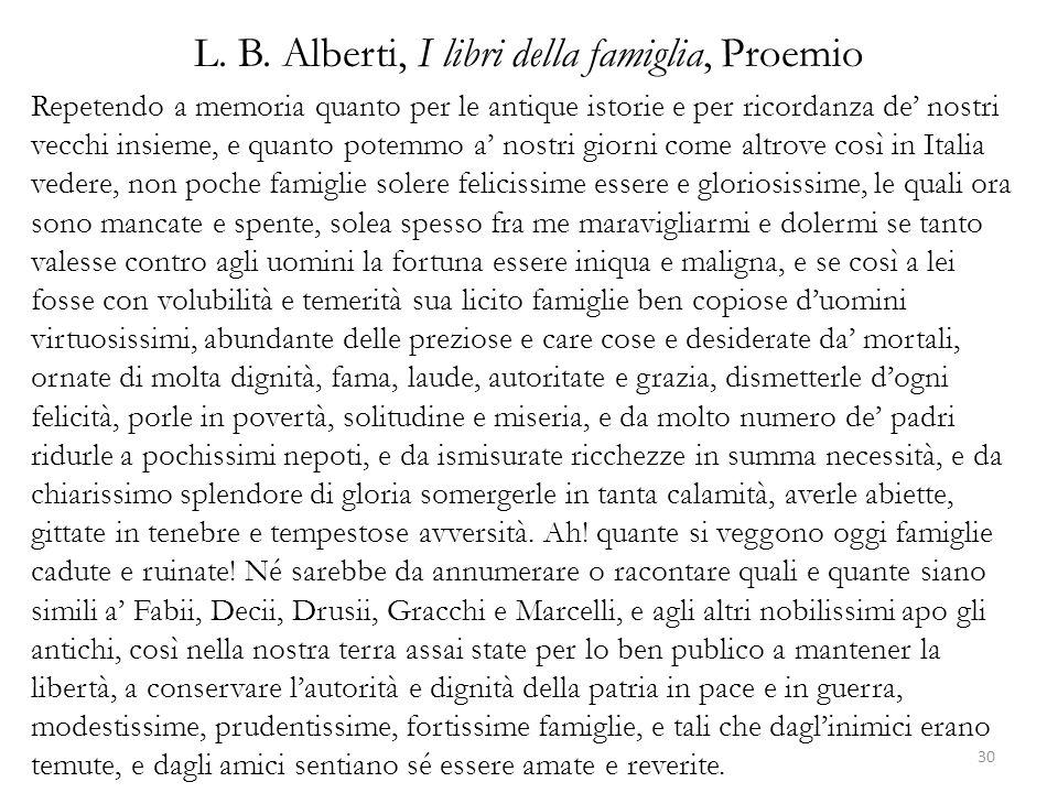 L. B. Alberti, I libri della famiglia, Proemio
