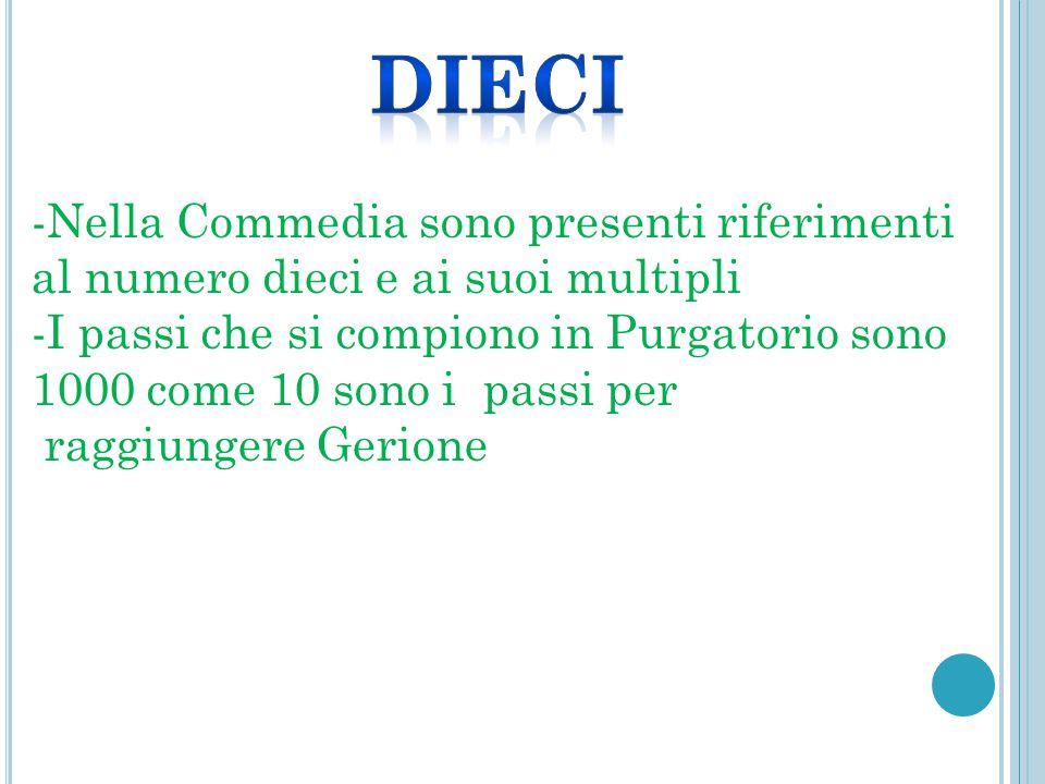 Dieci -Nella Commedia sono presenti riferimenti al numero dieci e ai suoi multipli.