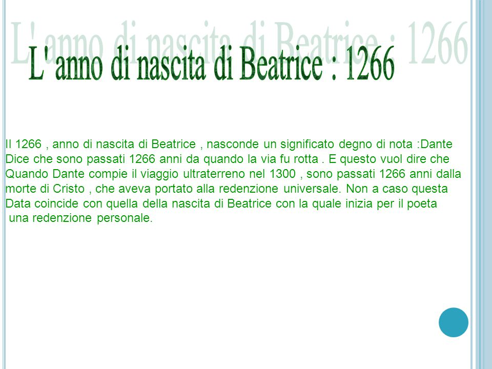 L anno di nascita di Beatrice : 1266