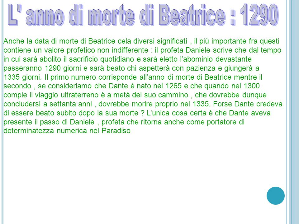 L anno di morte di Beatrice : 1290