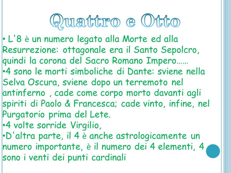 Quattro e Otto L 8 è un numero legato alla Morte ed alla Resurrezione: ottagonale era il Santo Sepolcro, quindi la corona del Sacro Romano Impero……