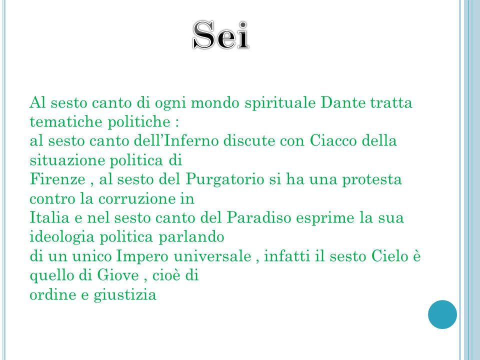 Sei Al sesto canto di ogni mondo spirituale Dante tratta tematiche politiche :