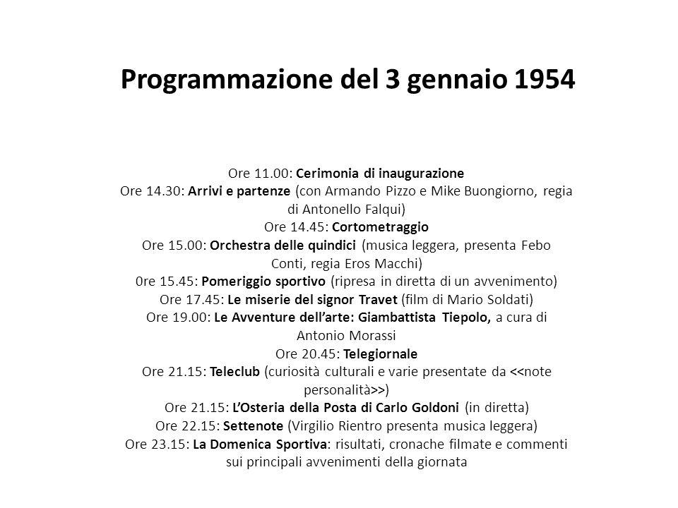 Programmazione del 3 gennaio 1954