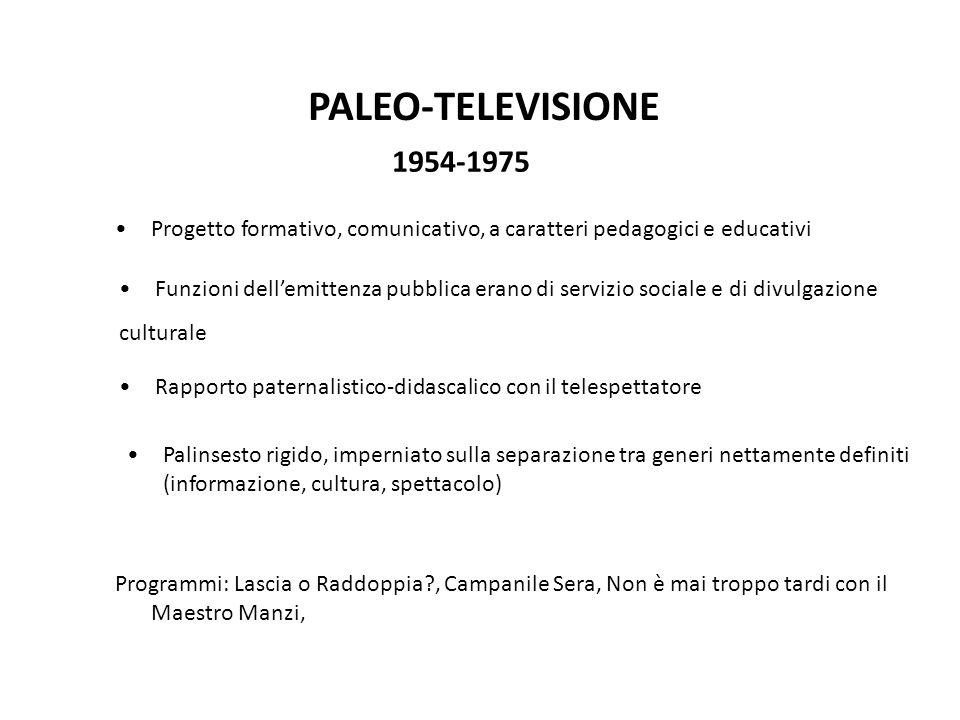PALEO-TELEVISIONE 1954-1975. Progetto formativo, comunicativo, a caratteri pedagogici e educativi.