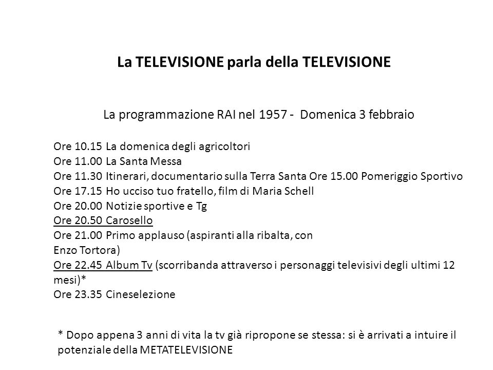 La TELEVISIONE parla della TELEVISIONE