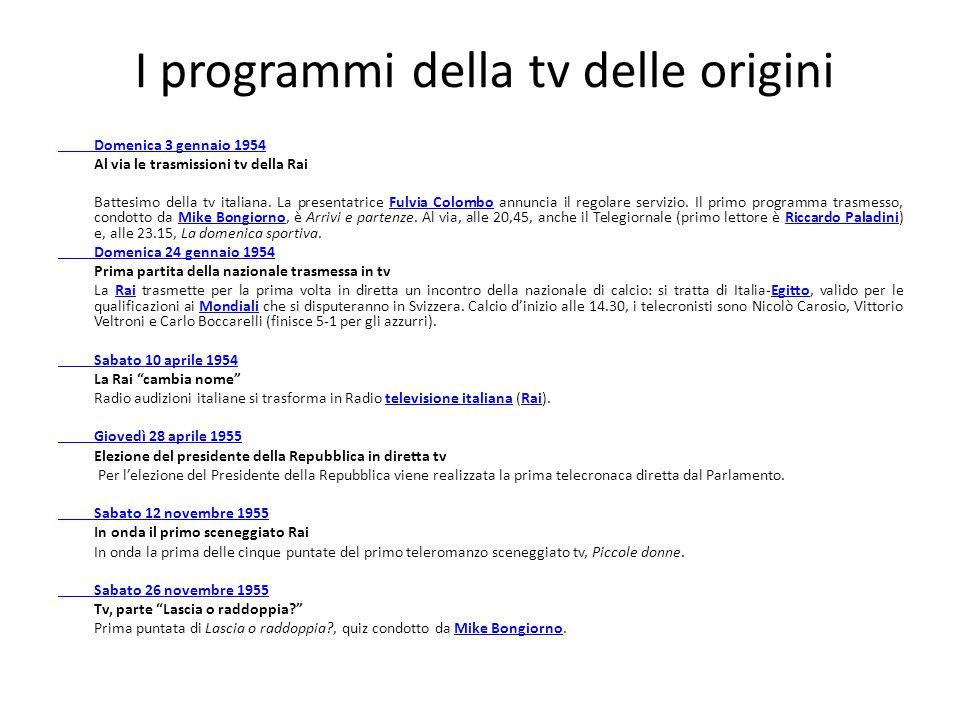 I programmi della tv delle origini