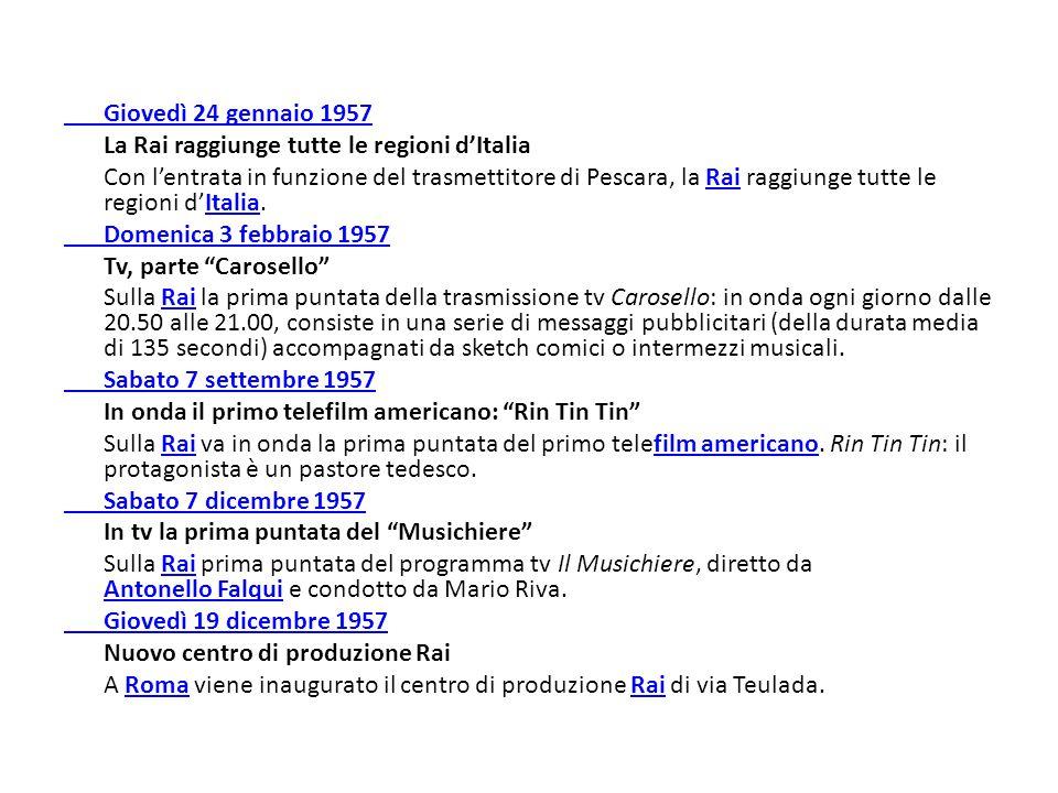 Giovedì 24 gennaio 1957 La Rai raggiunge tutte le regioni d'Italia Con l'entrata in funzione del trasmettitore di Pescara, la Rai raggiunge tutte le regioni d'Italia.