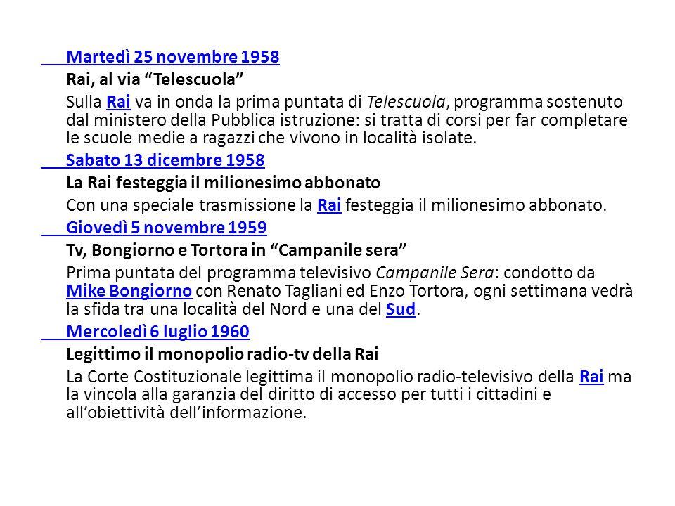 Martedì 25 novembre 1958 Rai, al via Telescuola