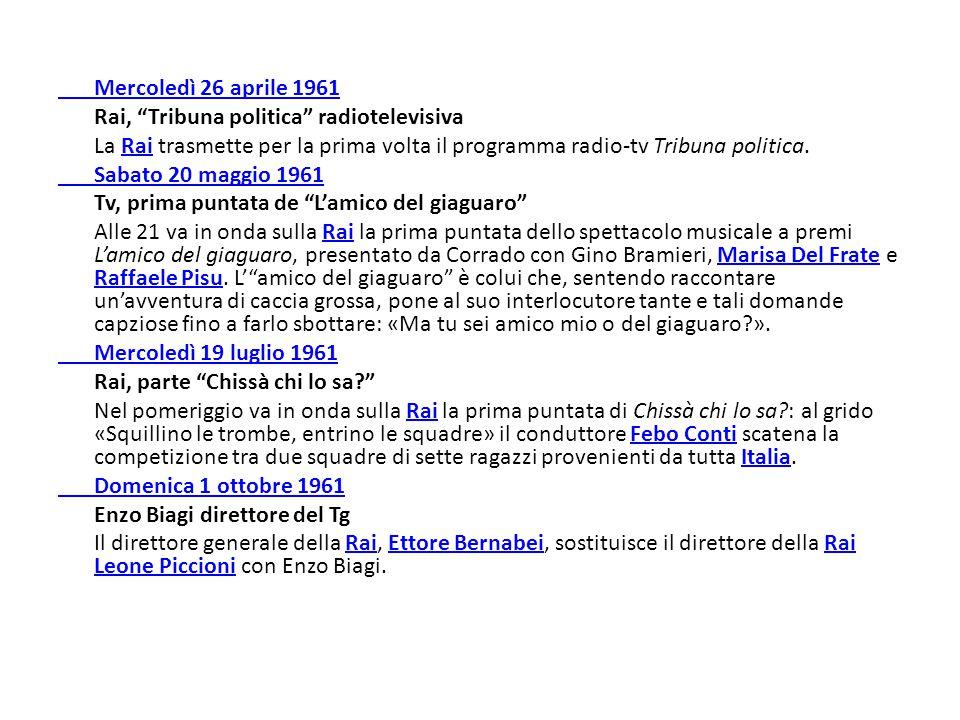 Mercoledì 26 aprile 1961 Rai, Tribuna politica radiotelevisiva. La Rai trasmette per la prima volta il programma radio-tv Tribuna politica.