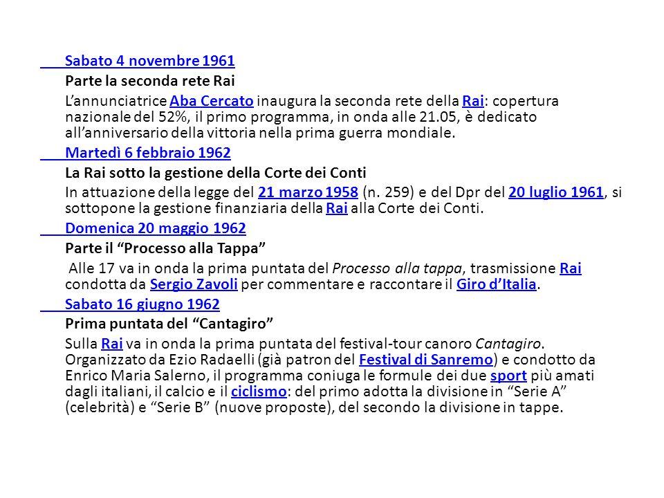 Sabato 4 novembre 1961 Parte la seconda rete Rai.