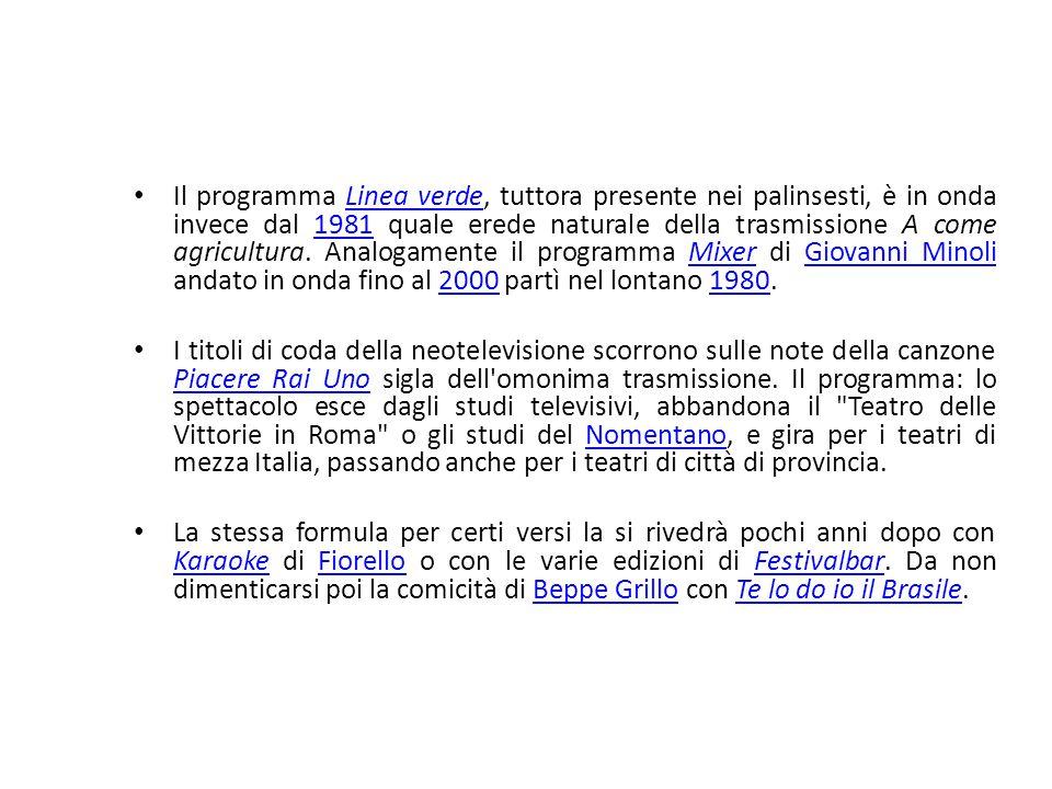 Il programma Linea verde, tuttora presente nei palinsesti, è in onda invece dal 1981 quale erede naturale della trasmissione A come agricultura. Analogamente il programma Mixer di Giovanni Minoli andato in onda fino al 2000 partì nel lontano 1980.