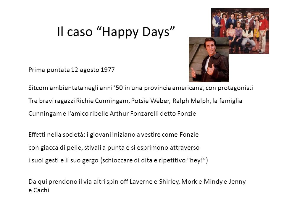 Il caso Happy Days Prima puntata 12 agosto 1977