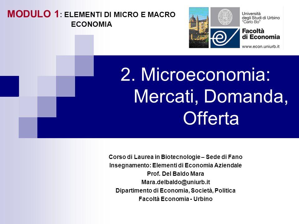 2. Microeconomia: Mercati, Domanda, Offerta