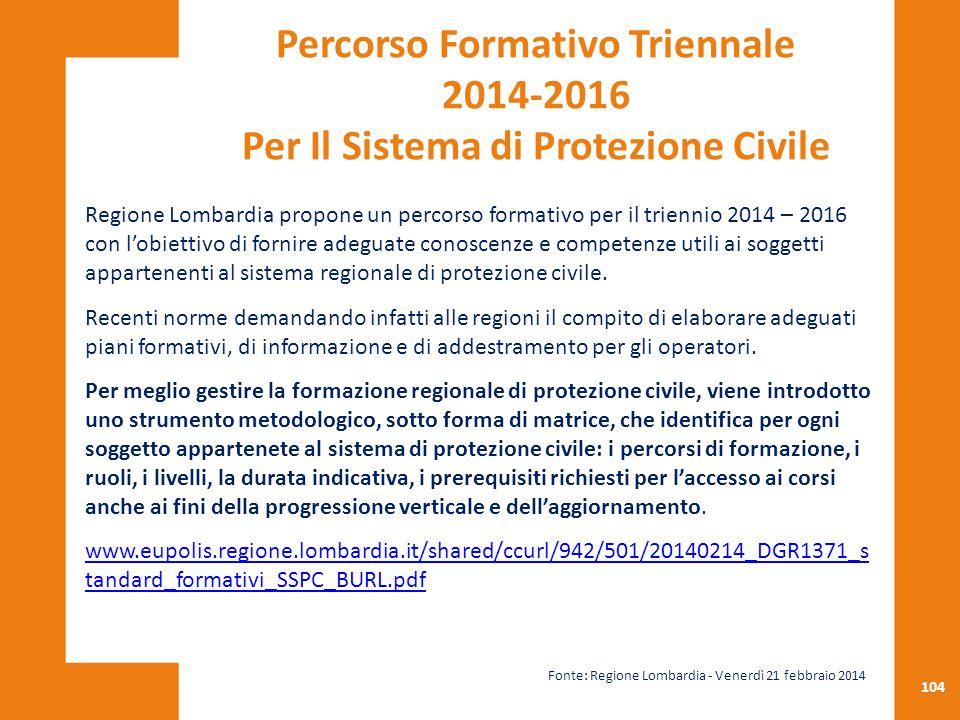 Percorso Formativo Triennale 2014-2016 Per Il Sistema di Protezione Civile