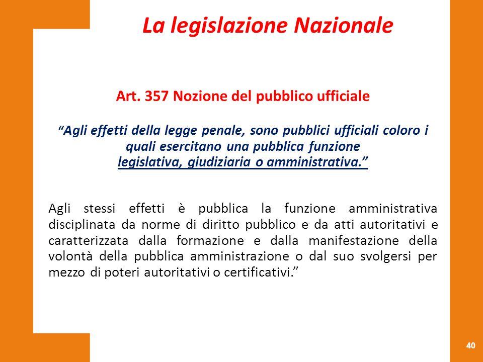 La legislazione Nazionale