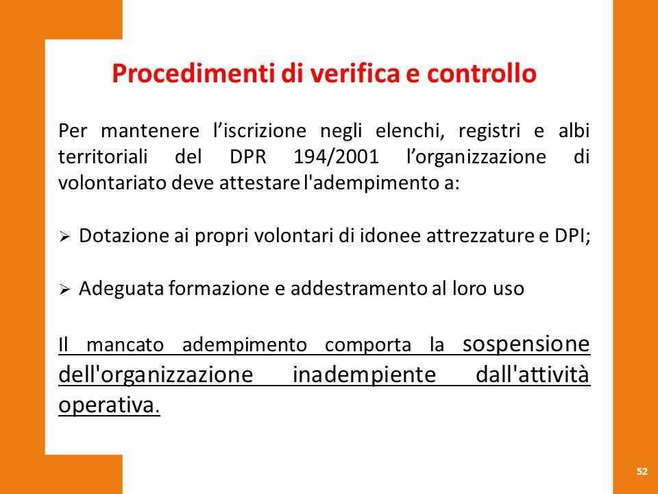 Procedimenti di verifica e controllo