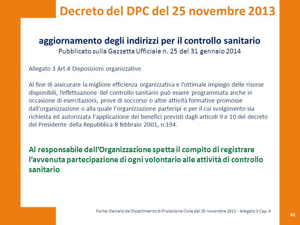 Decreto del DPC del 25 novembre 2013
