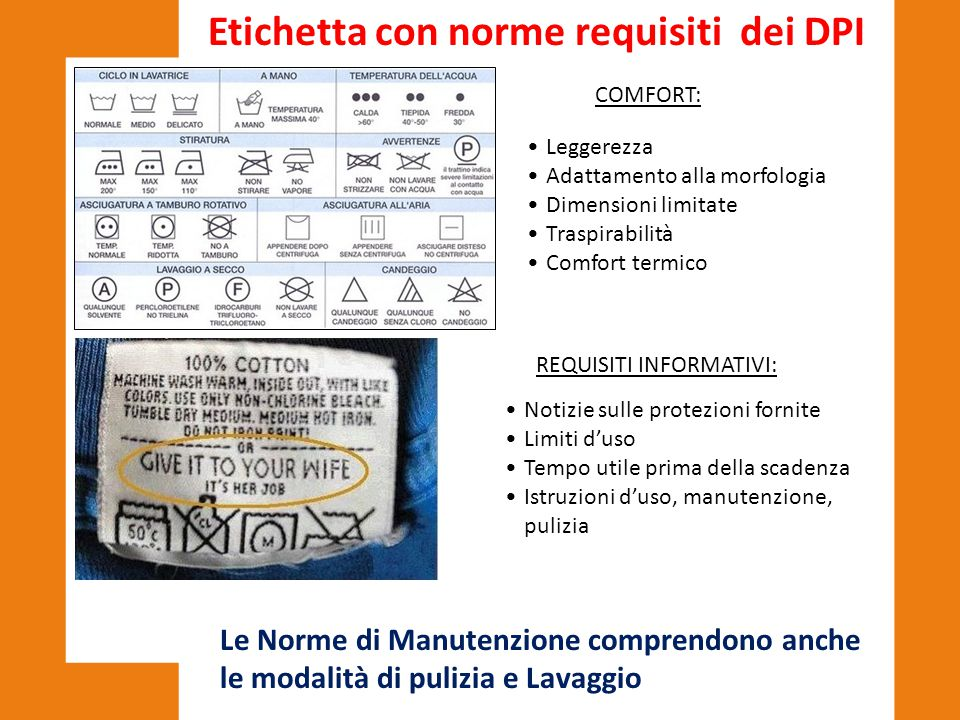 Etichetta con norme requisiti dei DPI