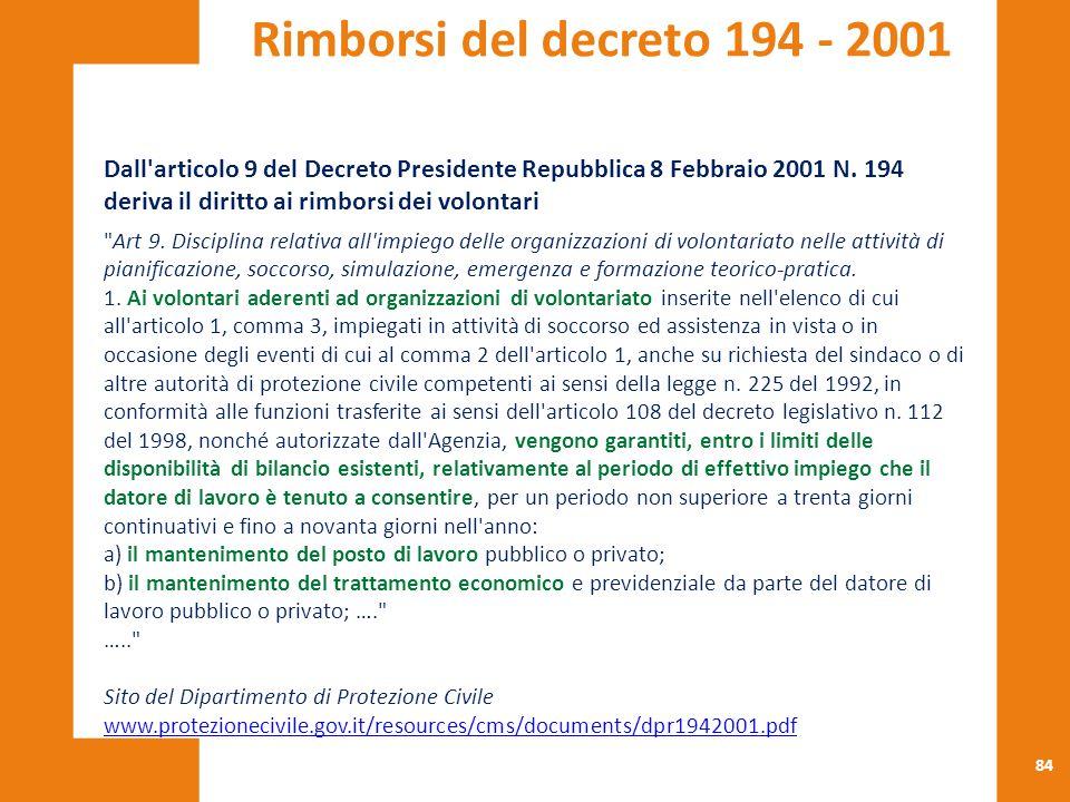 Rimborsi del decreto 194 - 2001 Dall articolo 9 del Decreto Presidente Repubblica 8 Febbraio 2001 N. 194.