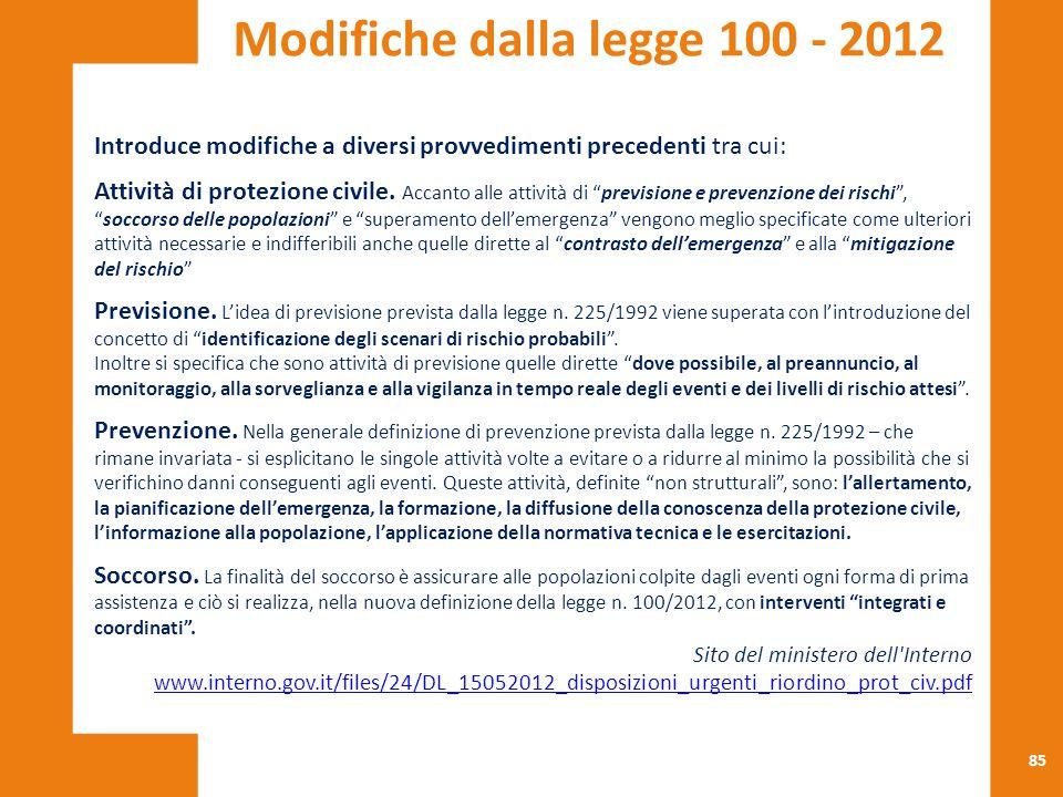 Modifiche dalla legge 100 - 2012