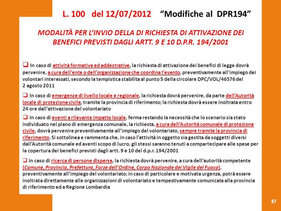 L. 100 del 12/07/2012 Modifiche al DPR194