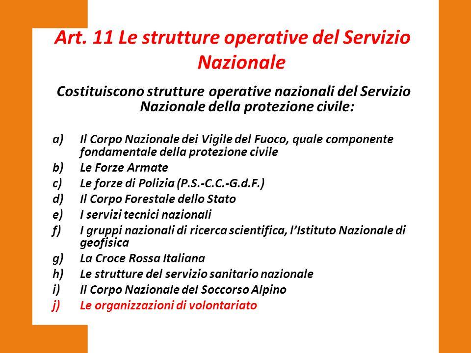 Art. 11 Le strutture operative del Servizio Nazionale