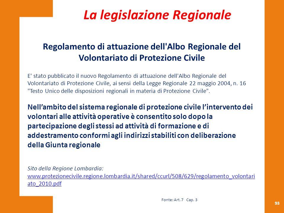 La legislazione Regionale