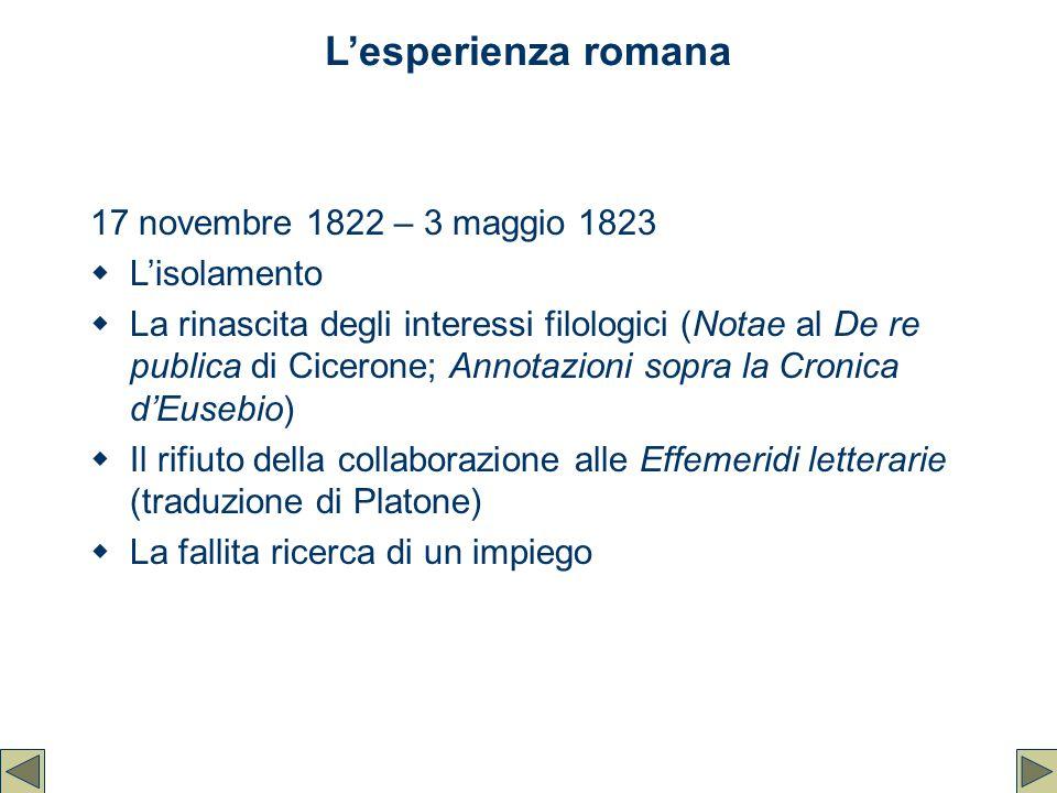 L'esperienza romana 17 novembre 1822 – 3 maggio 1823 L'isolamento