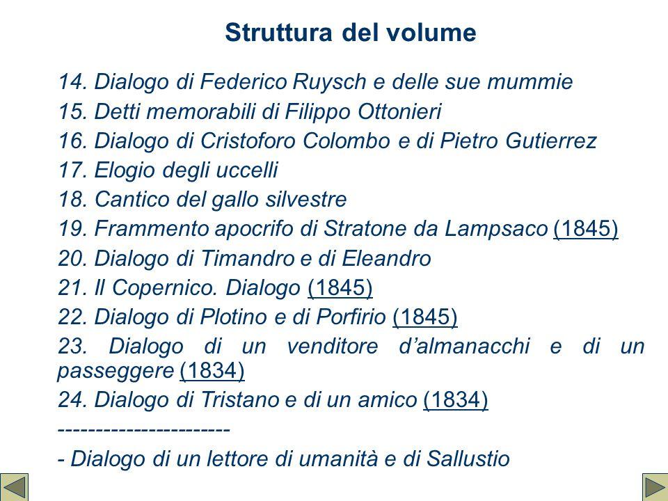 Struttura del volume 14. Dialogo di Federico Ruysch e delle sue mummie