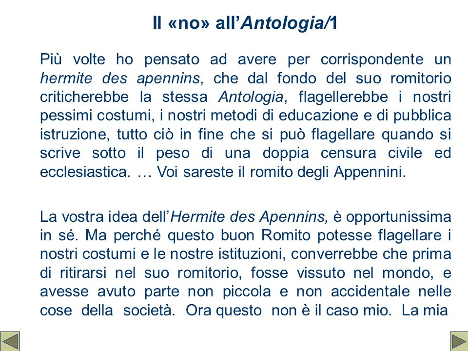 Il «no» all'Antologia/1