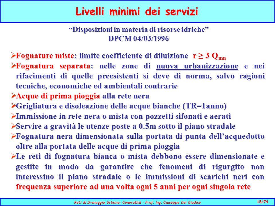Livelli minimi dei servizi