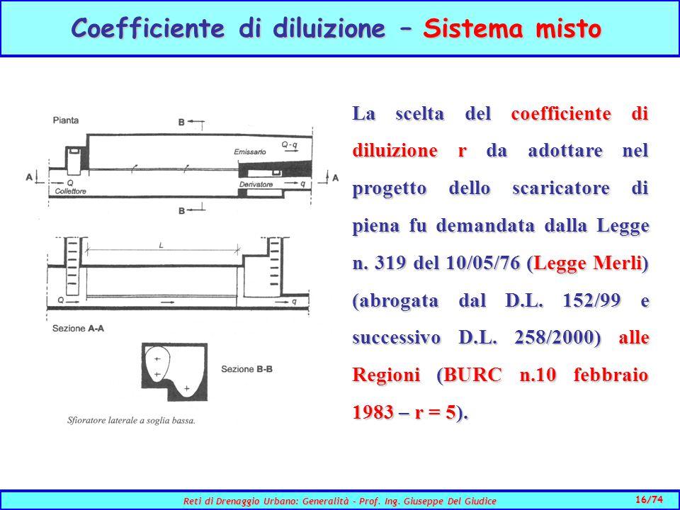 Coefficiente di diluizione – Sistema misto