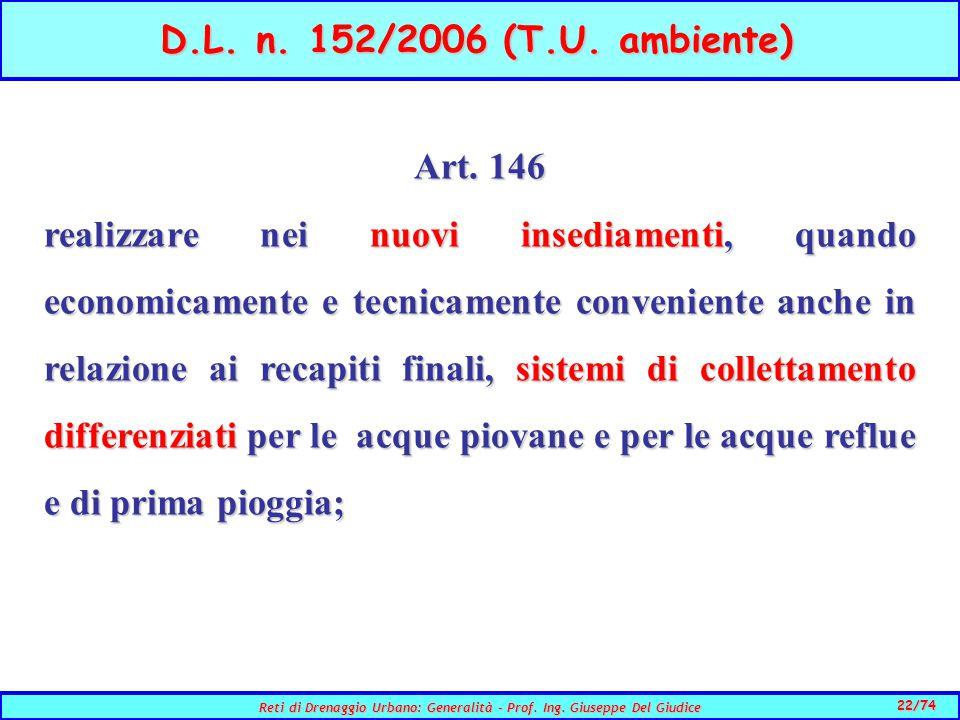 D.L. n. 152/2006 (T.U. ambiente) Art. 146.